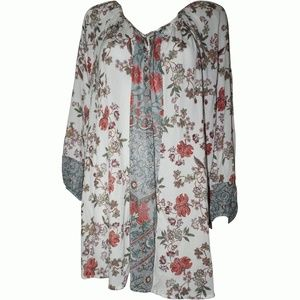 Style & Co Women's Floral Print Center Sheer XL